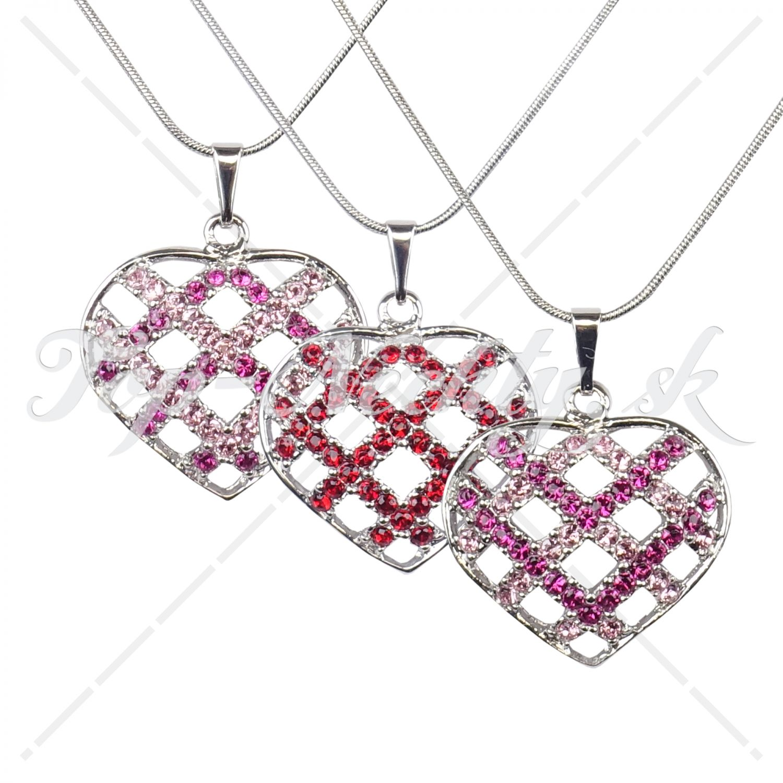 Náhrdelník v tvare srdca vykladaný Swarovski kryštálmi - rôzne farby 5e110892ee1