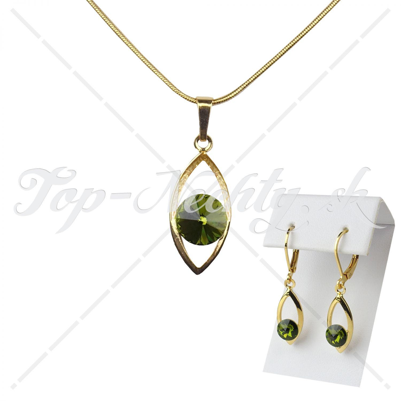 Sada náušníc s náhrdelníkom so zeleným rivoli kryštálom 5c7a68eb96a